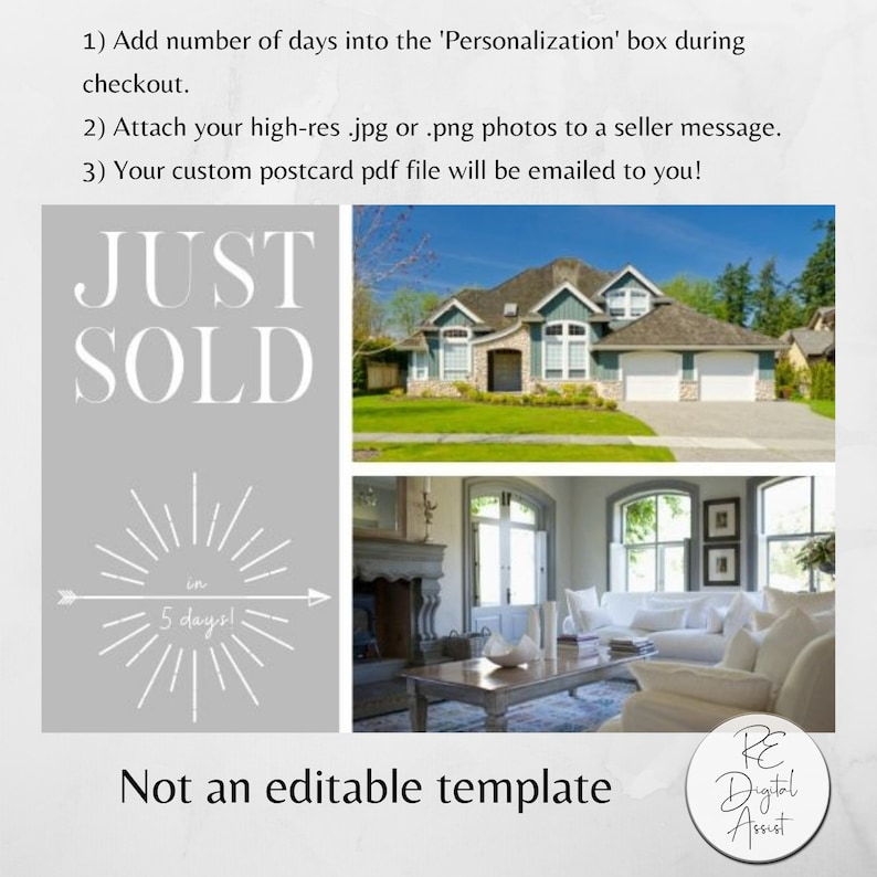 SALE! Just Sold Real Estate Postcard Front, Made-to-Order Realtor  Prospecting Farm Business Marketing Printable PDF, Agent Broker Listing