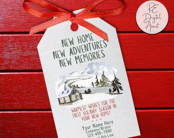 Christmas New Home Gift Tag Personalized Real Estate Holiday Printable Pop by, Agent Broker Client Appreciation Marketing  December