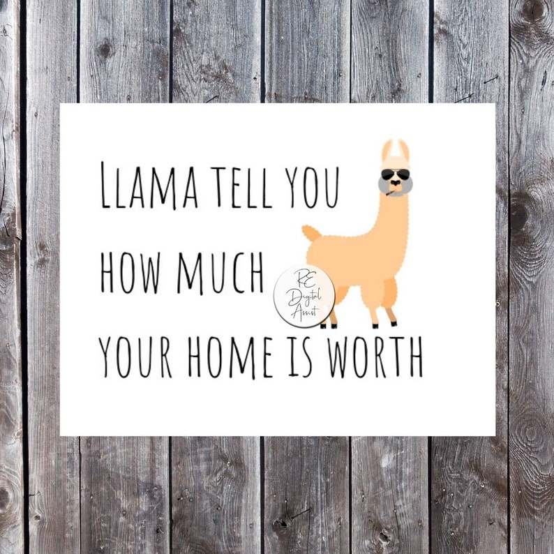 SALE! Real Estate Marketing Personalized 4x6 Postcard | Farm Sellers or  FSBO Mailer Unique Design Llama Realtor Business Marketing Postcard