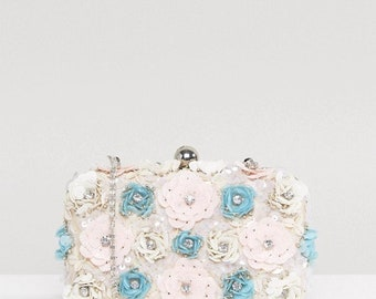 Floral Elegant Clutch Handbag,Hand crafted Evening Clutch Bag,Embellished floral clutch bag,Statement evening bag,Party Wedding Gift for her