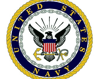 US Navy Emblem Printed Fabric Quilt Block COTTON Fabric