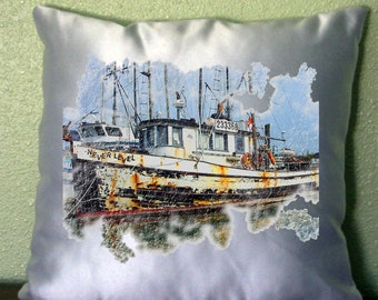 """Rustic Old Boats Pillow Cover 15"""" x 15"""" Cover"""