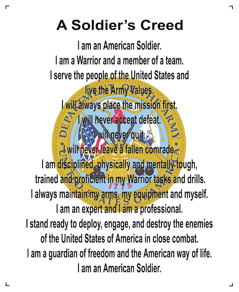 US Army Creed 8x10 Cotton Fabric
