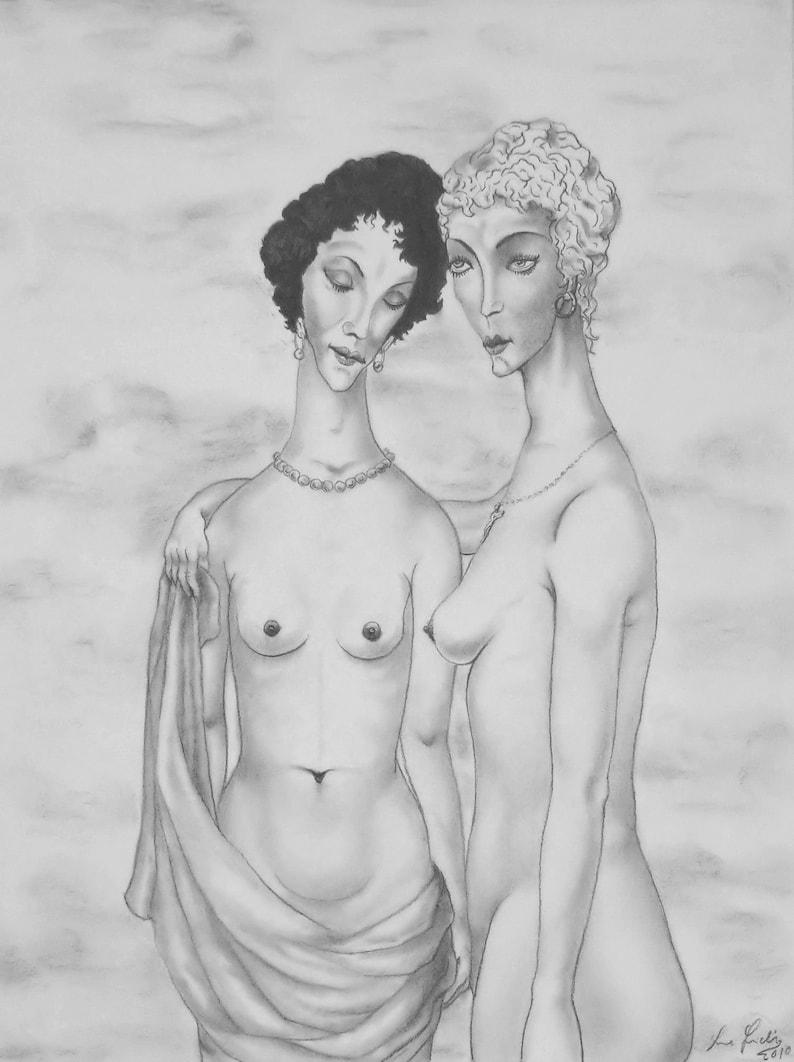 Two Posh Women  By Imre Zsido Portrait Canvas Print  Women image 0