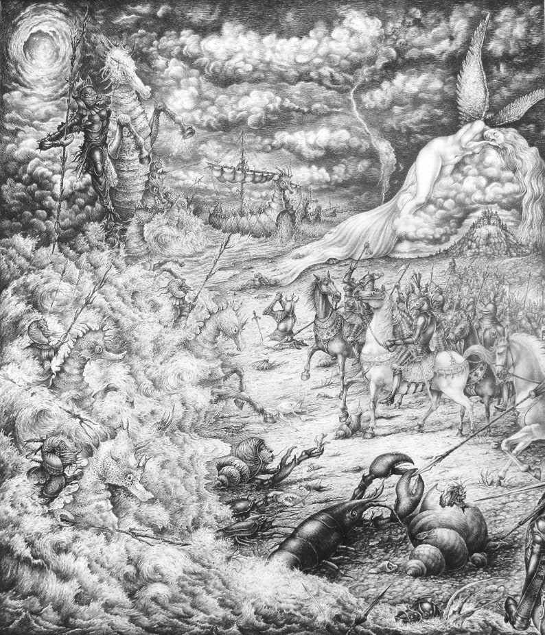 War Between Earth and Sea  By Imre Zsido Fantasy Art Canvas image 0