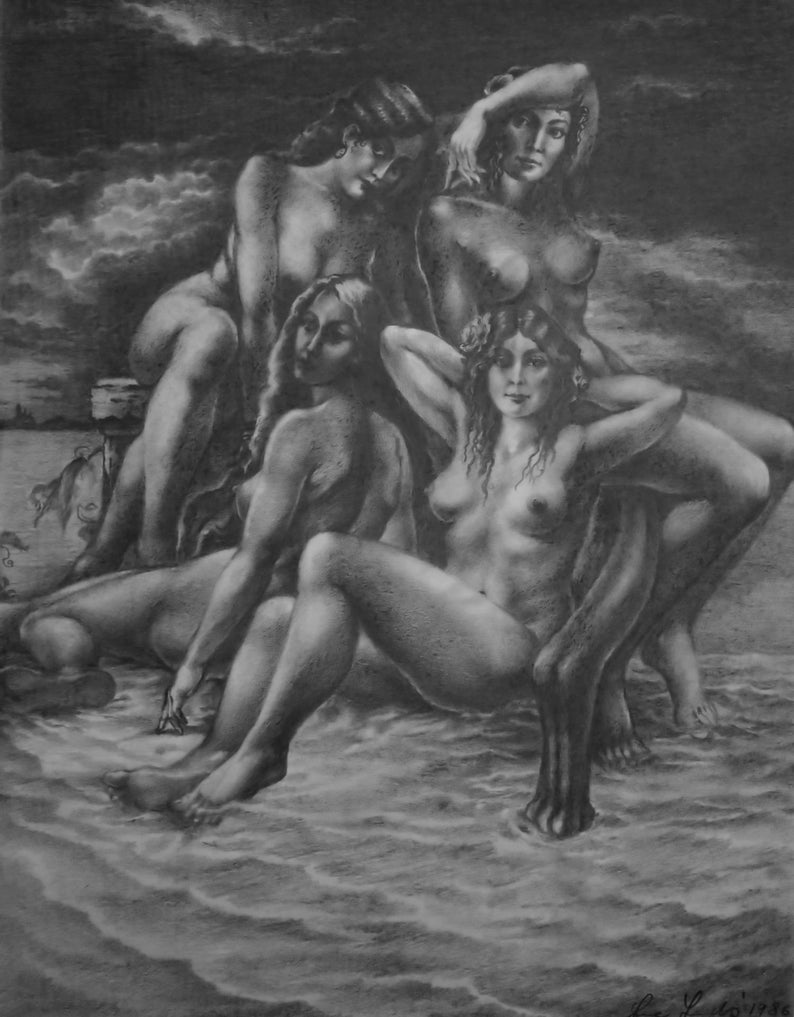 Mermaids in Morning Sea  By Imre Zsido Fantasy Art Canvas image 0
