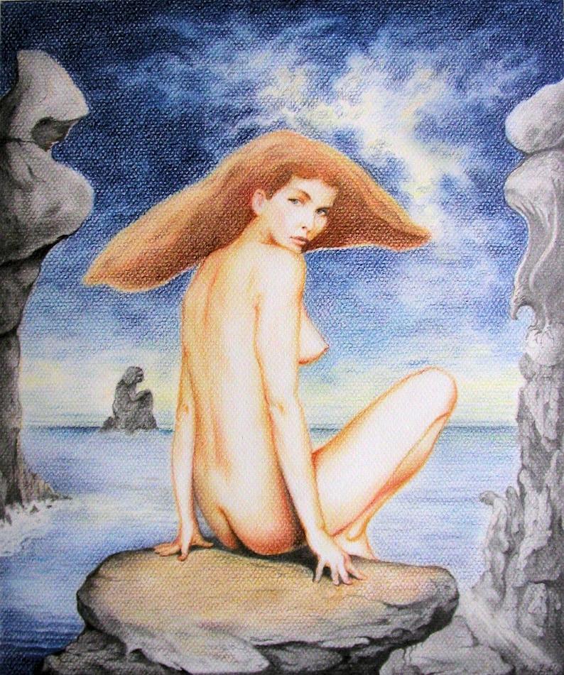 At the Sea  By Imre Zsido Fantasy Art Canvas Print  image 0