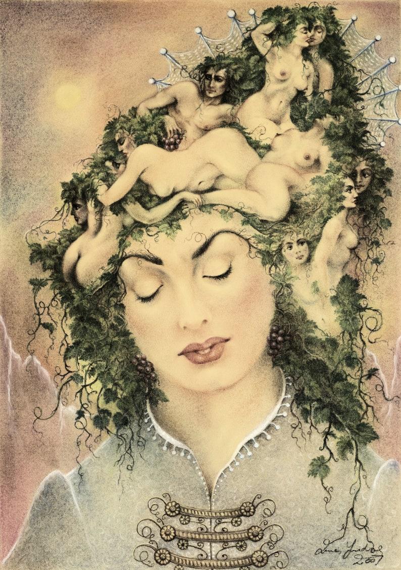 Pleasure of the Grapes  By Imre Zsido Fantasy Art Canvas image 0