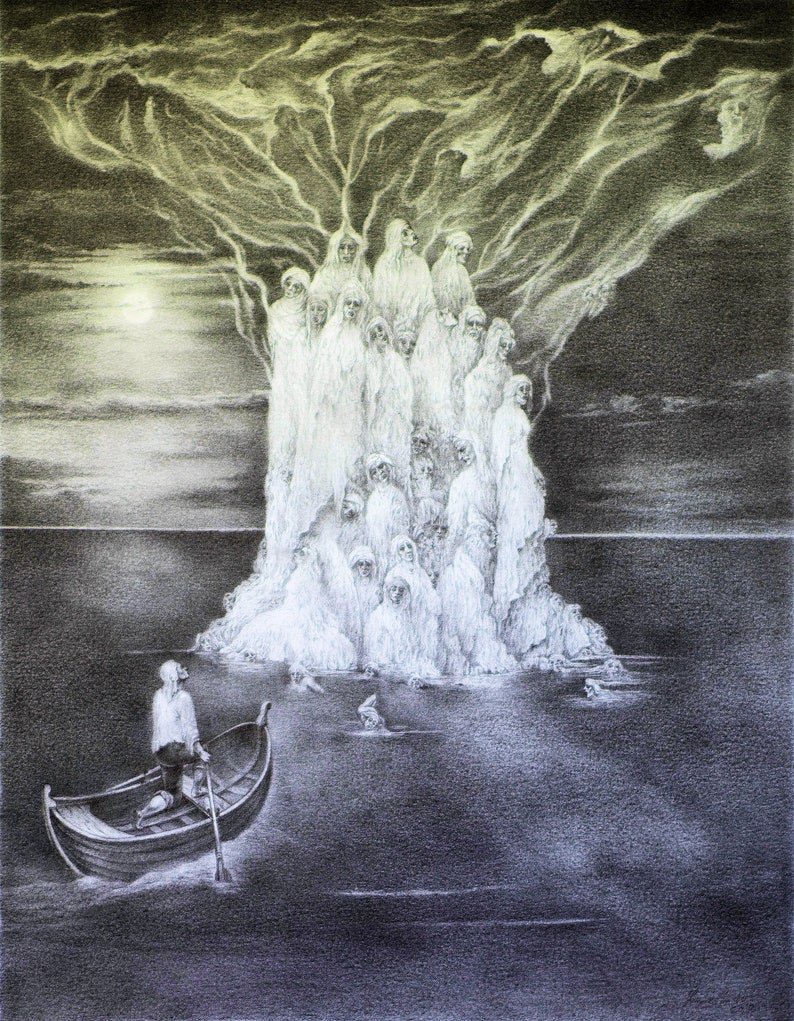 Island of the Dead  Imre Zsido Fantasy Art Print  Fantasy image 0