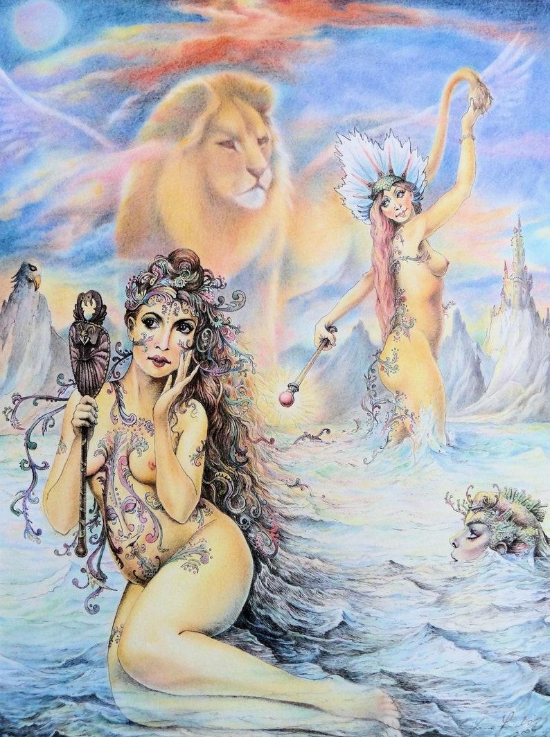 Magic Mirror  By Imre Zsido Fantasy Art Canvas Print  image 0