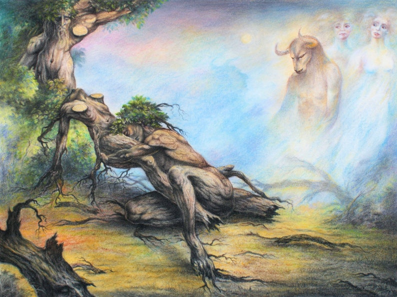 Minotaurus  By Imre Zsido Fantasy Art Canvas Print  image 0