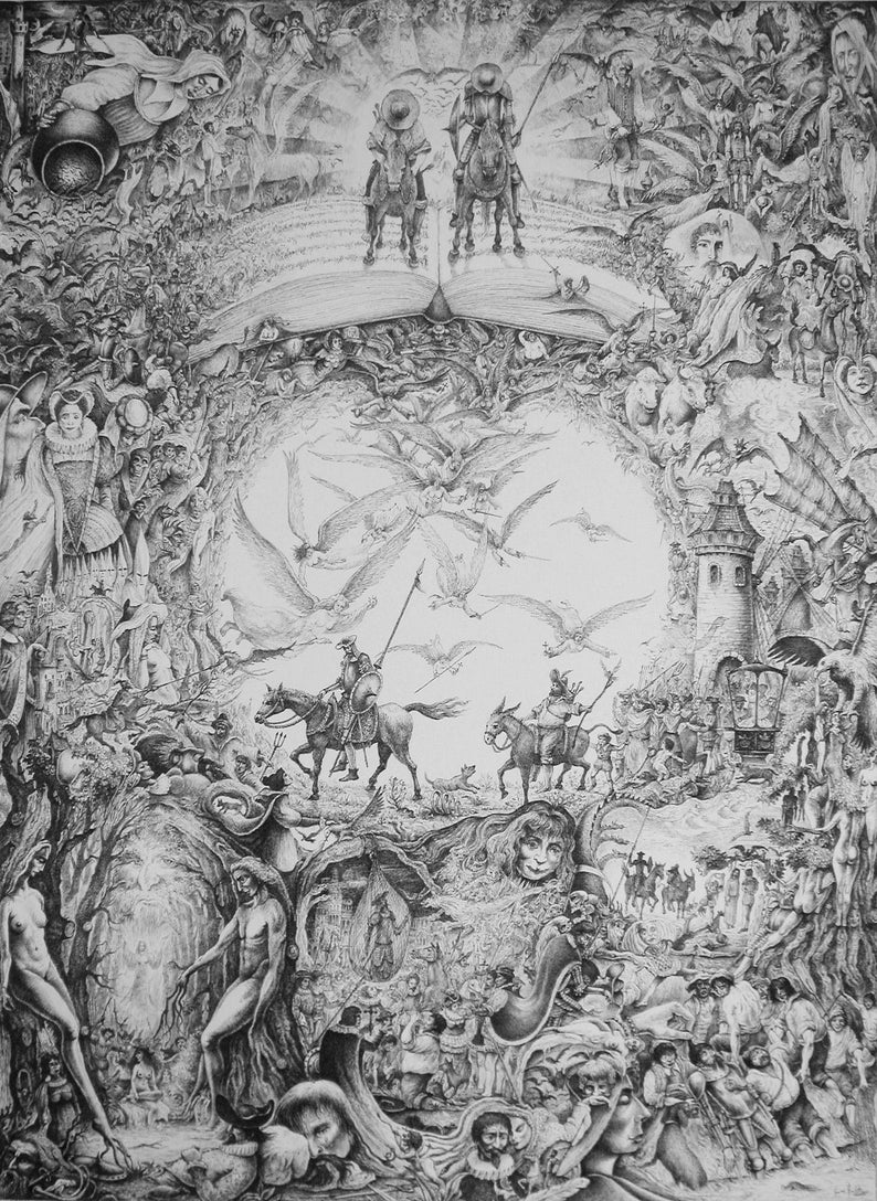 Adventures of Don Quixote  By Imre Zsido Fantasy Art Canvas image 0
