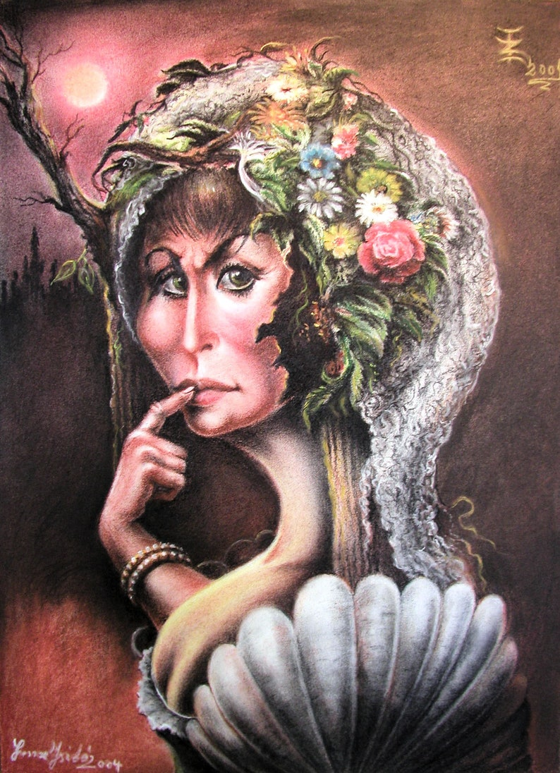 Lady with Flower Scarf By Imre Zsido Fantasy Art Canvas image 0