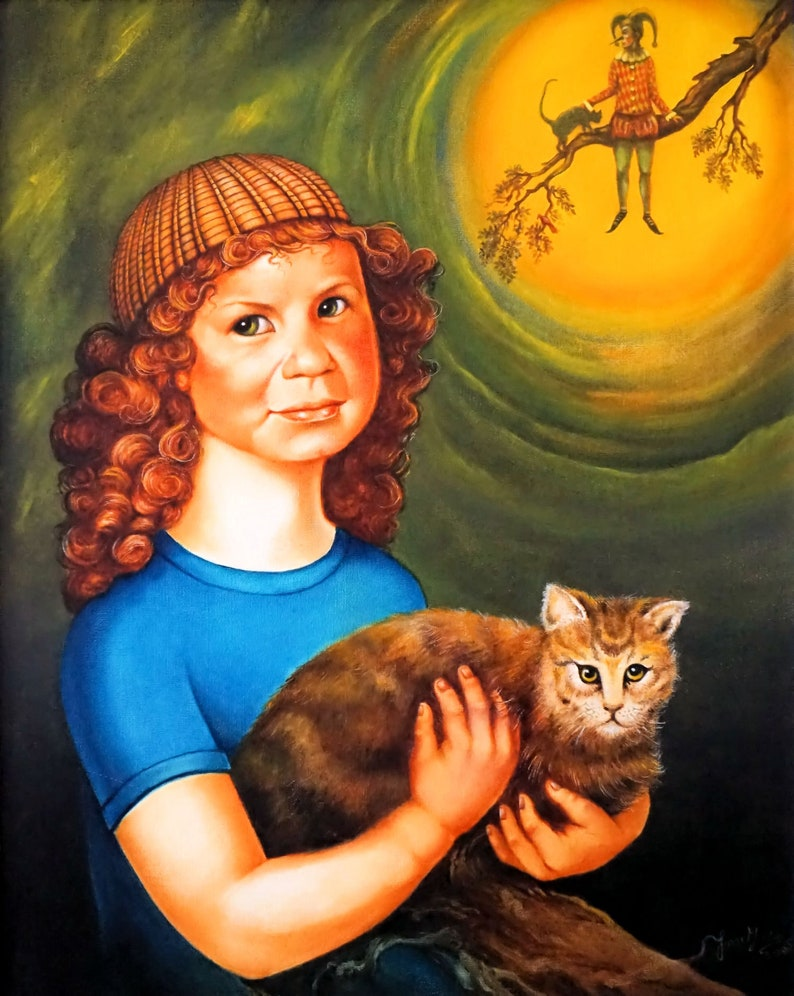 Kate and the Cat  By Imre Zsido Fantasy Art Canvas Print  image 0