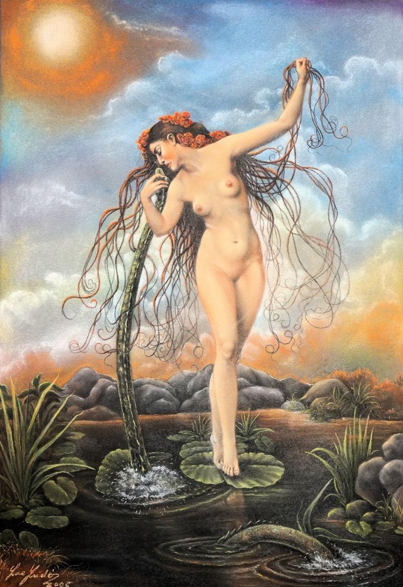Monster of the Lake  By Imre Zsido Fantasy Art Canvas Print image 0