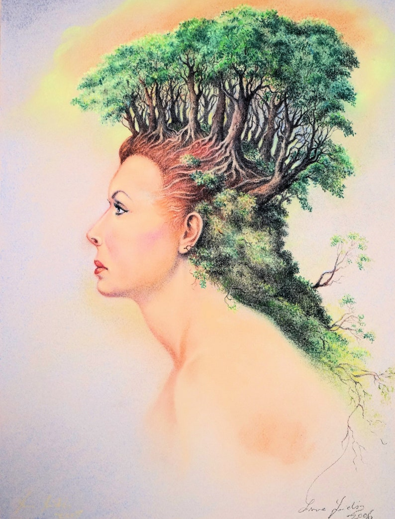 Lady with Forest Hair  By Imre Zsido Fantasy Art Canvas image 0