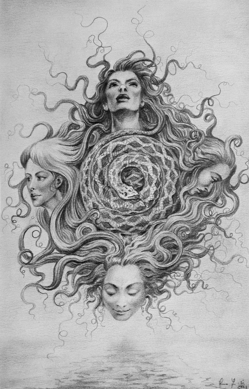 Four Headed Snake  By Imre Zsido Fantasy Art Canvas Print  image 0