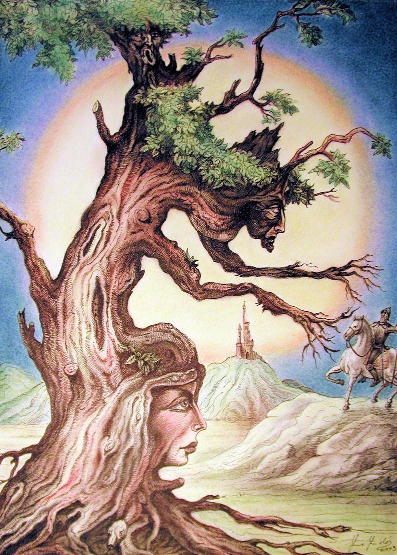 Fantastic Tree  By Imre Zsido Fantasy Art Canvas Print  image 0