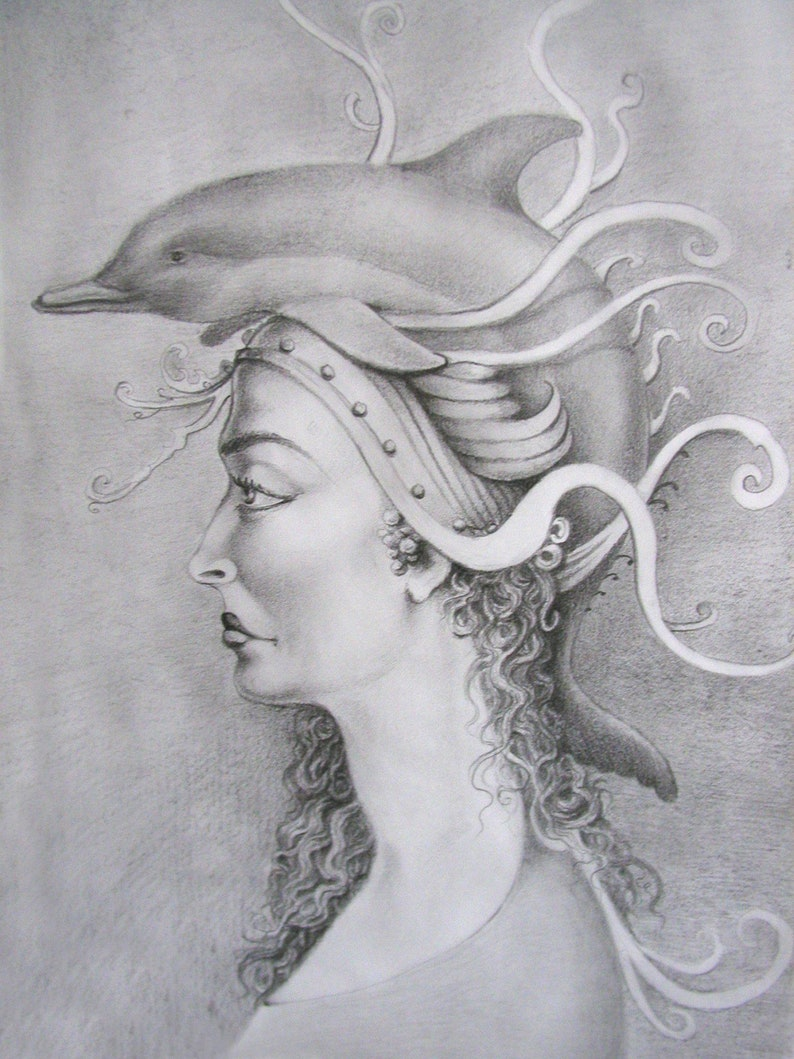 Dolphin Hat  By Imre Zsido Fantasy Art Canvas Print  image 0