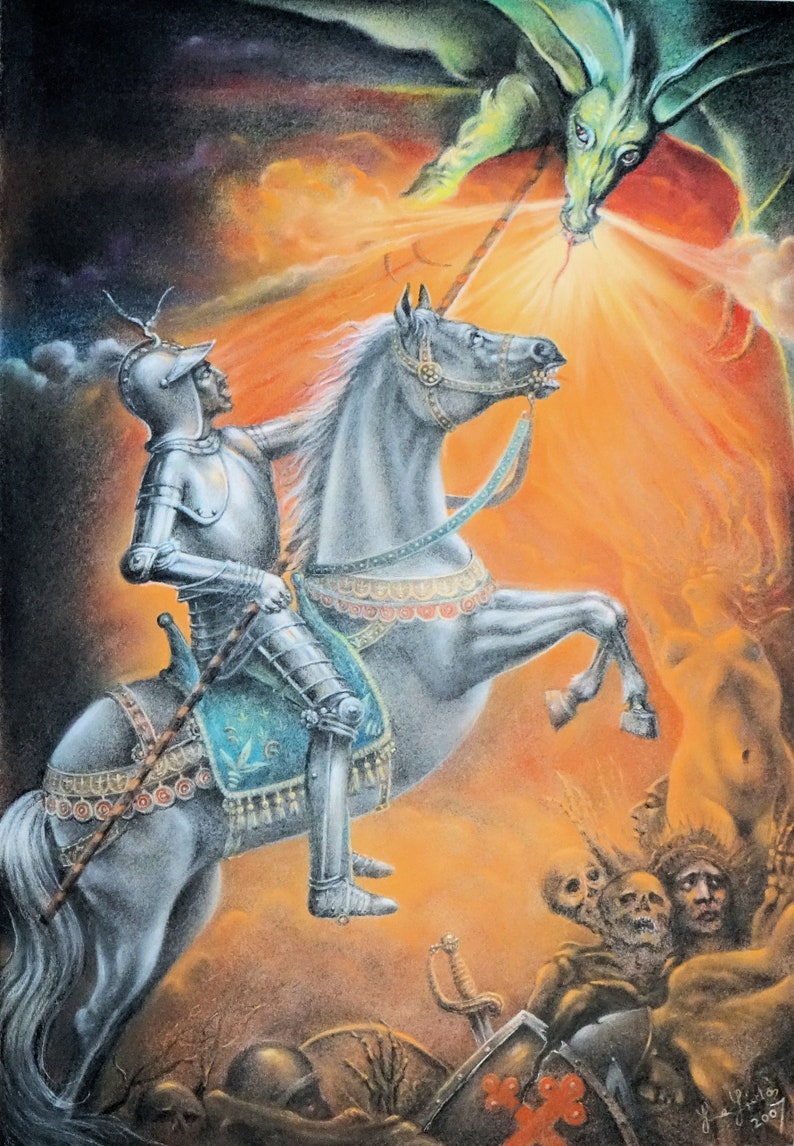 St George and the Dragon  By Imre Zsido Fantasy Art Canvas image 0