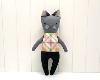 Grey cat with colorful tiles, handmade