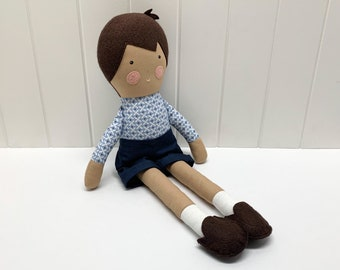 Boy doll with brown hair, handmade, cloth toy for children