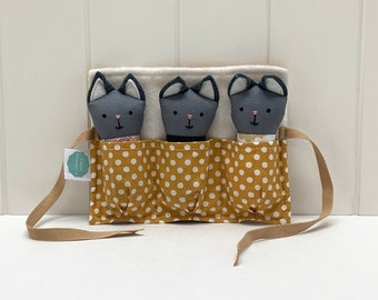 Menagerie of small grey cats handmade, children's toy.