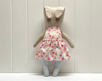 Beige bunny with floral dress, handmade, children's toy made of fabric