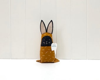 Grey and yellow bunny with pouch for tooth fairy, handmade