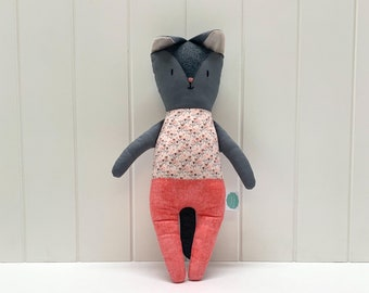 Pink-clad grey cat, handmade