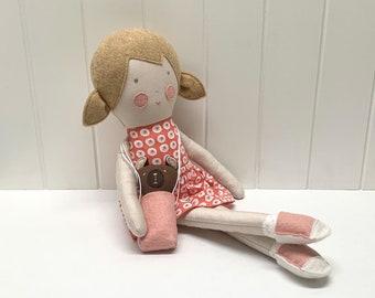 Girl doll, handmade. Children's toy rag doll. Blonde-haired girl doll.