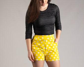 Retro shorts, yellow polka dots, summer fashion, bright vintage shorts, retro cut woman's and girls fashion