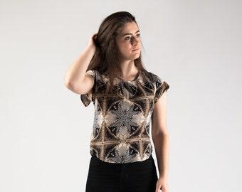 Summer top, Aztec print, retro womans fashion, summer fashion, bias cut clothing, 60's art deco style