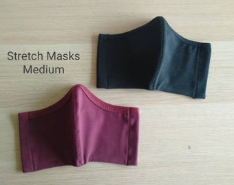 MEDIUM size, reusable face covering, all day comfort face masks, 2 layers of stretch fabric, cotton spandex blend
