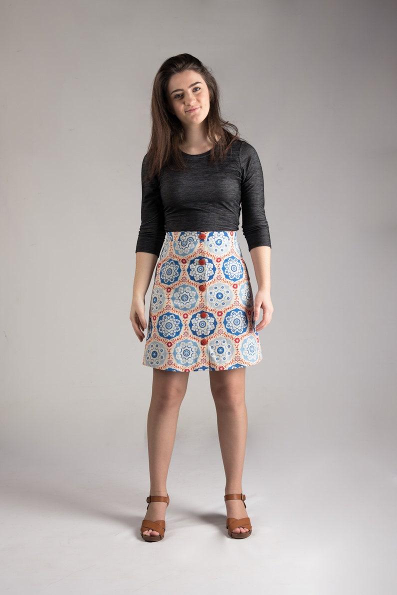 Button down skirt Retro style wrap skirt mini A-line skirt image 0