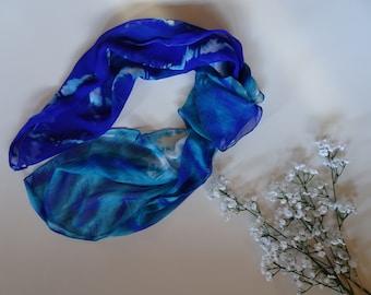 Head Scarf, boho head wrap, vintage neckerchief, rockabilly style, head wrap, adjustable head tie, tie dyed look, ocean blues