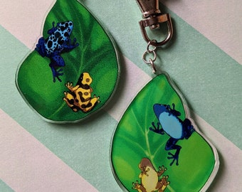 Glitter Cute Green Glitter Dart Frog Bag Keychain Resin