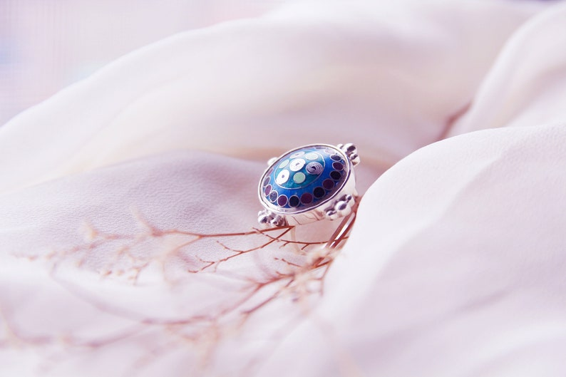 Blue Rings Enamel Ring Handmade Enamel Cloisonn\u00e9 blue ring 7 US Rings Enamel Jewelry enamel jewelry Blue Rings Gift Sterling Silver
