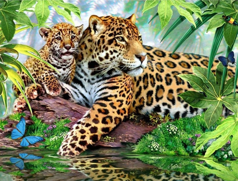 Diamond Painting Kit, Diamond Painting Kit Full Drill, 5D Diamond Painting  Kit, 3D Diamond Painting, Diamond Embroidery, Animals, Leopards