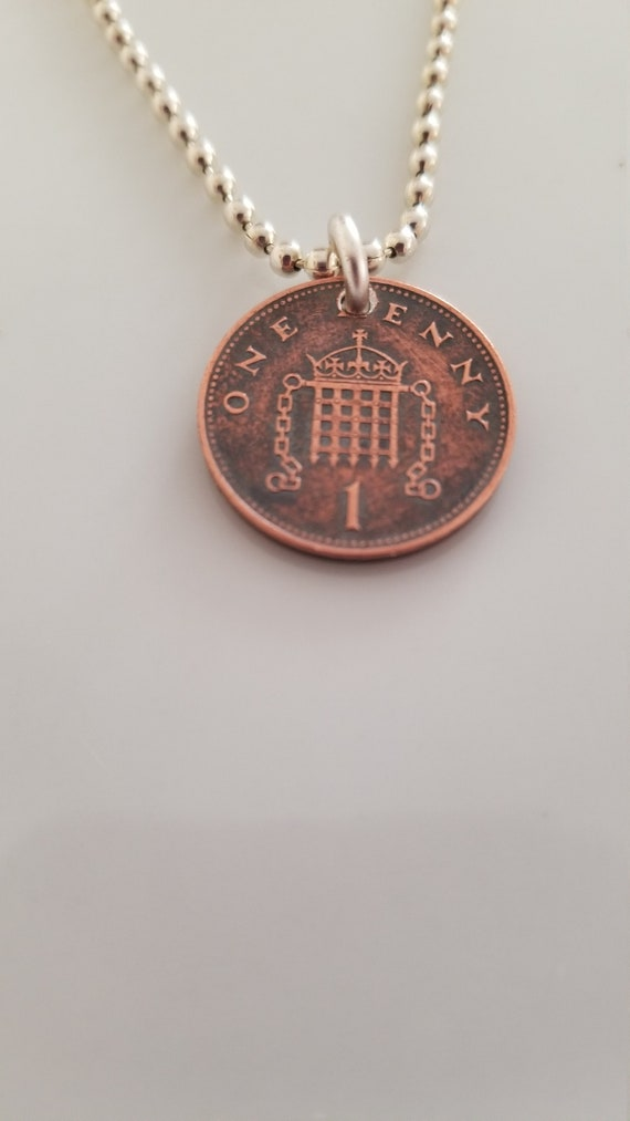 Coin Jewelry British Jewelry Penny Coin Necklace England Souvenir Unique Gift Queen Elizabeth Coin Pendant 1996 U.K