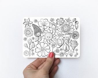 Flower doodles   Postcard A6
