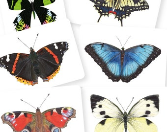 Set of 6 butterfly cards   Postcard A6