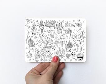 Plant doodles   Postcard A6
