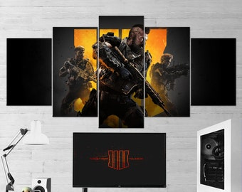 4 piece canvas wall art abstract painting call of duty black ops multi panel wall art piece canvas gaming decor poster gift piece wall art etsy