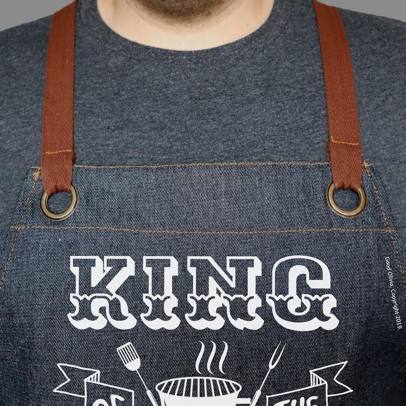 Blue Denim Adjustable Apron with Pockets King of The Grill DENIM APRON Men/'s Apron Black Denim Summer BBQ Grill   Grilling Apron