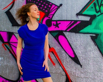 d6b0212af00 VeNove Maternity   Nursing Draped Dress Blue