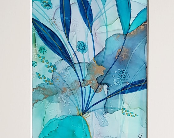 Teal Abstract, Original Alcohol Ink