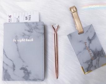 Peach Marble Swirl Multi-purpose Travel Passport Set With Storage Bag Leather Passport Holder Passport Holder With Passport Holder Travel Wallet