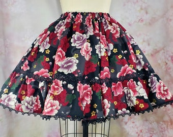 Gothic Lolita Skirt - Black Cats and Flowers - Floral Kitty Print - Kawaii, EGL, Goth, Jfashion, Spooky Skirt - Any Size - Ready to Ship