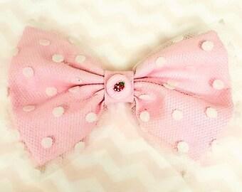 Polka Dot Hair Bow Clip - Pink Cotton & Tulle - Cute Hair Accessory - Dessert Charm - Sweet Lolita, Fairy Kei, Pastel Kei, Kawaii Fashion